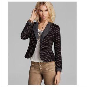 Free People Polka Dot Blazer Tweed Black Combo XS